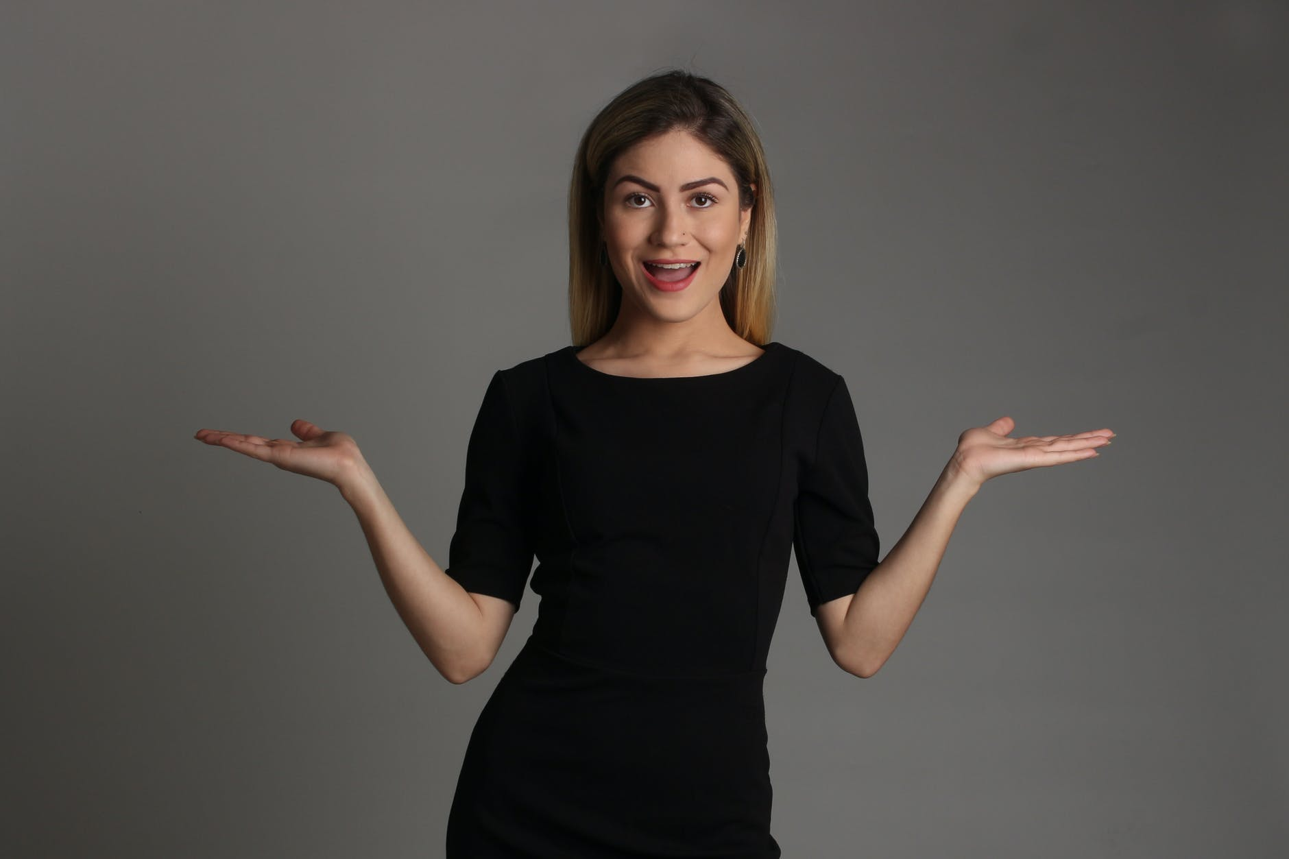 woman in black crew neck t shirt